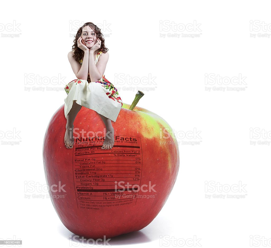 Red Delicious Apple with Nutrition Label stock photo