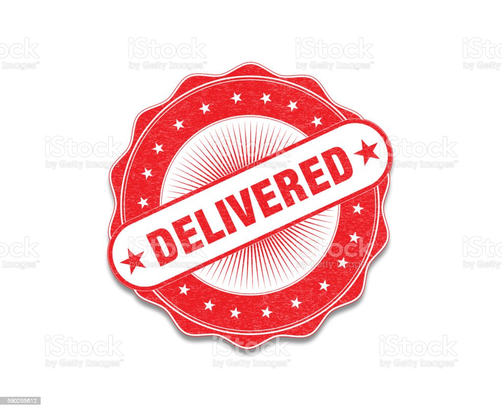 Red 'Delivered' Stamp On White stock photo