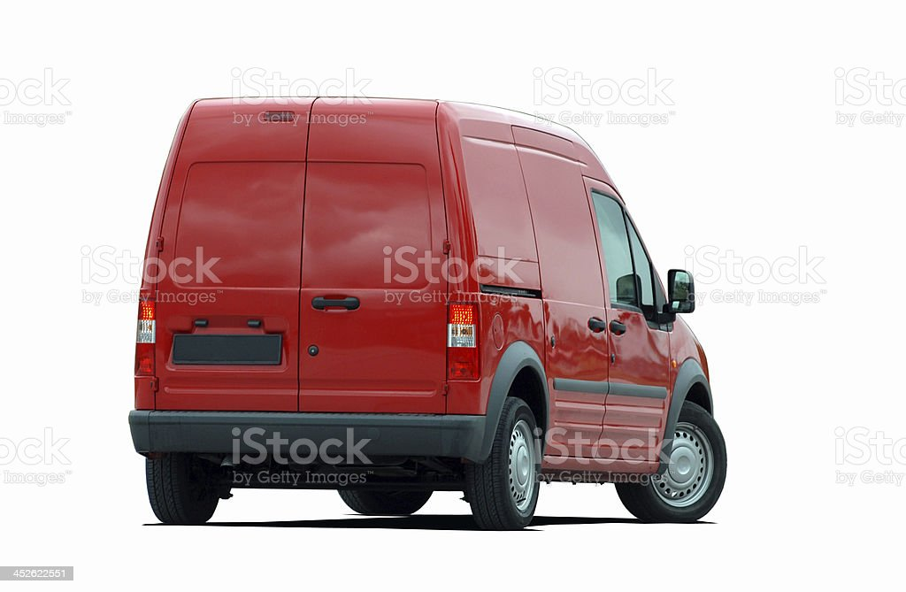 red delivery van back view royalty-free stock photo