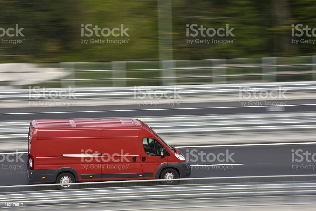 Red delivery van royalty-free stock photo