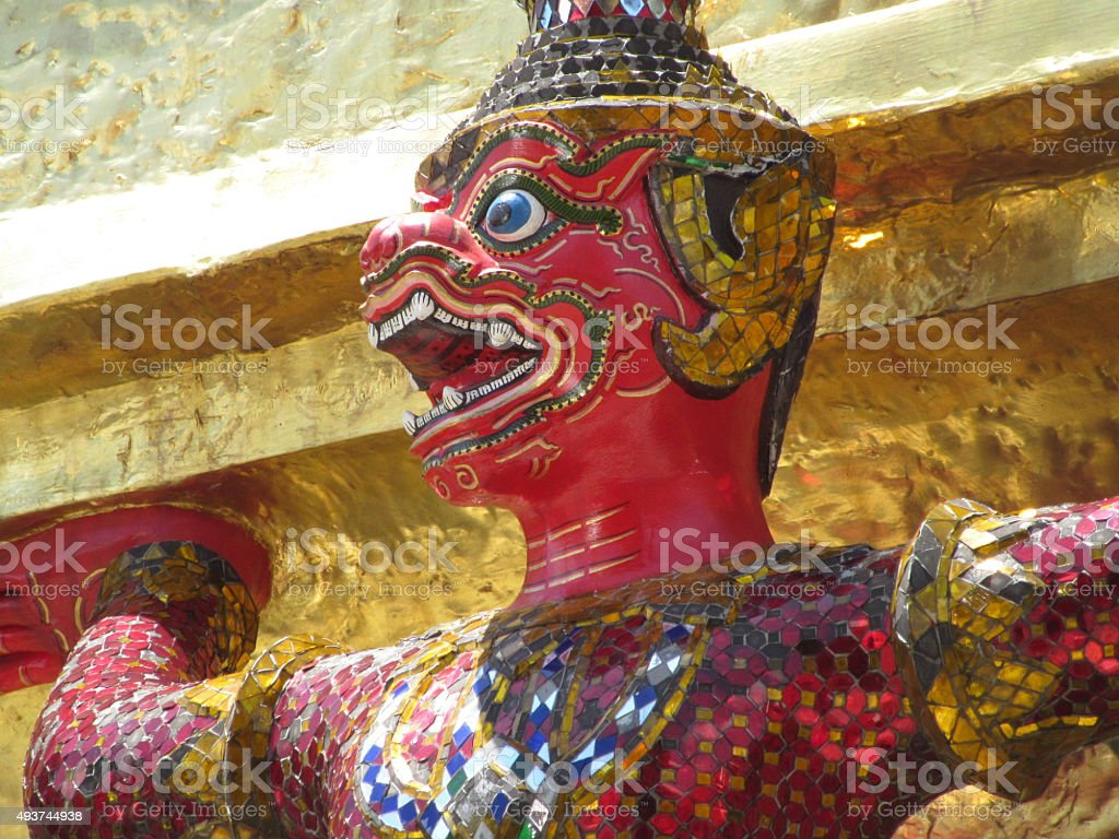 Red Demon, Grand Palace, Bangkok, Thailand stock photo