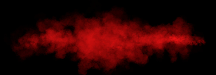 Red Dense Fluffy Puffs of White Smoke and Fog on Black Background, Abstract Smoke Clouds, All Movement Blurred, intention out of focus, and high low exposure contrast, copy space for text logo