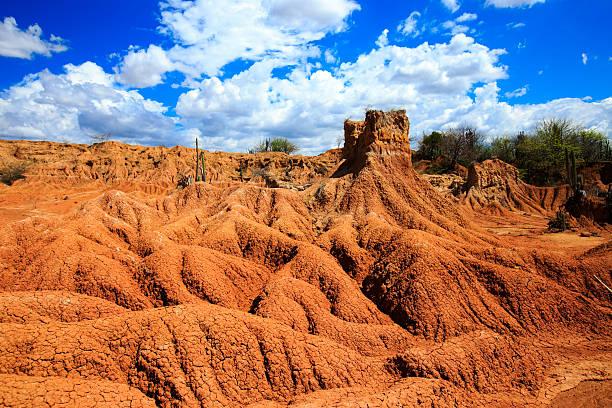 red desert in colombia, tatacoa desert landscape stock photo