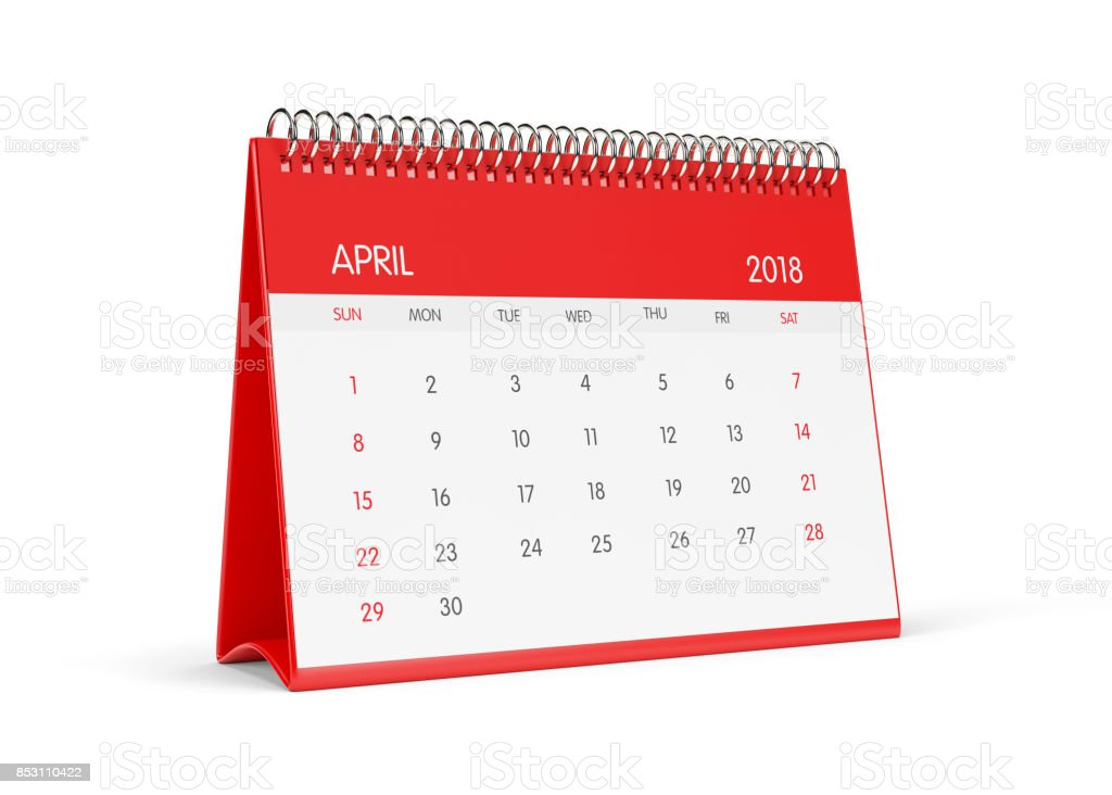 2018 Red Desktop Calendar  Isolated On White Background.April stock photo