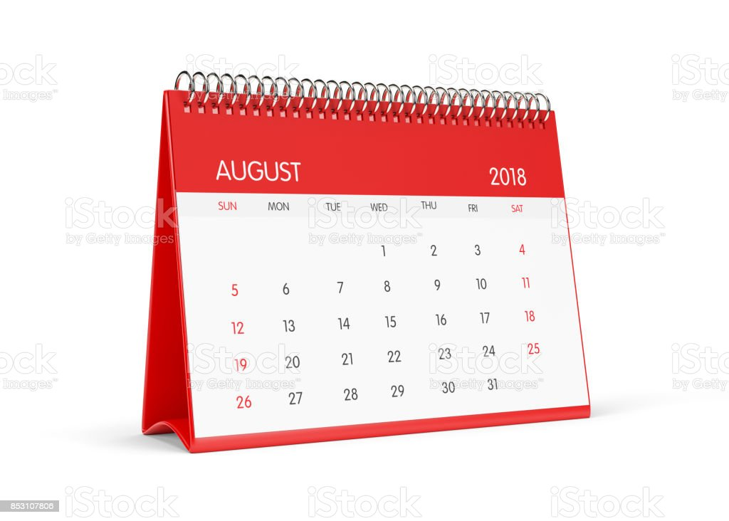 2018 Red Desktop Calendar  Isolated On White Background.August stock photo