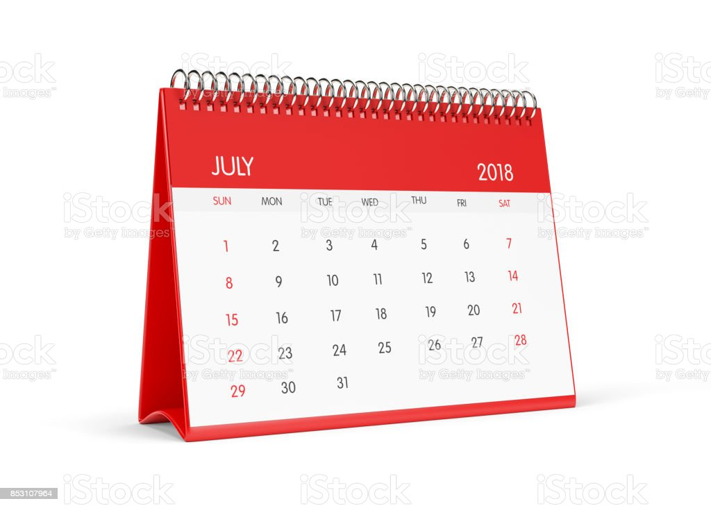 2018 Red Desktop Calendar  Isolated On White Background.July stock photo
