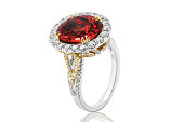 Red diamond ring in gold with ruby and brillants in gold white jewelry for wedding , engagement and bridal
