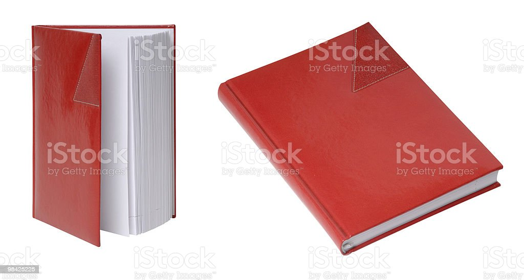 Red diary in leather cover royalty-free stock photo