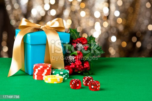 istock Red dice and poker chips 177491735