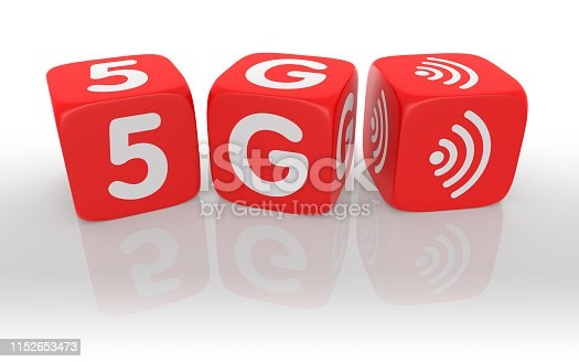 istock Red Dice with 5G text of concept. 3D Rendering 1152653473
