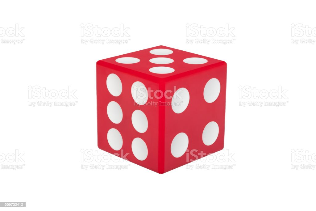 Red dice with white dots isolated stock photo