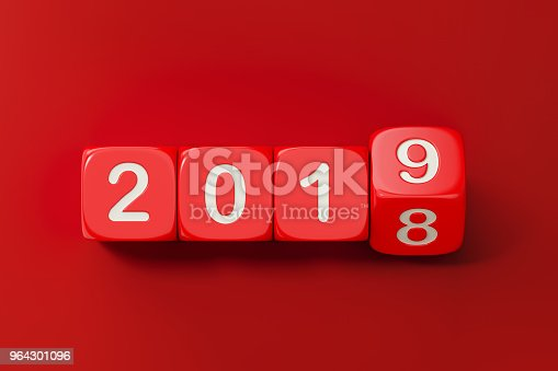 968874704istockphoto Red Dices are Rolling From 2018 to 2019 964301096