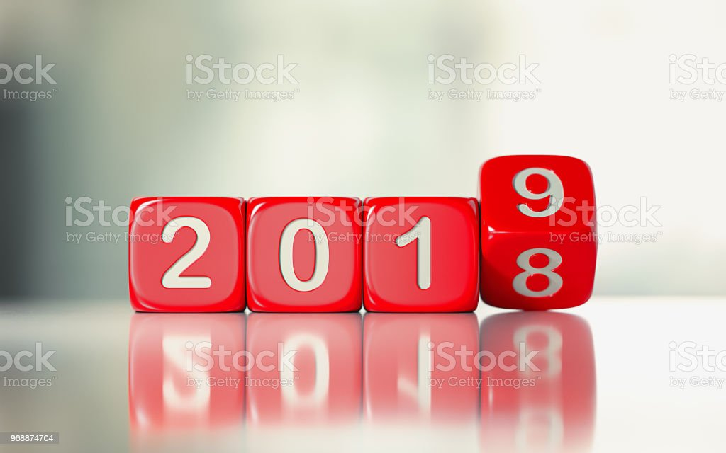 Red Dices are Rolling From 2018 to 2019 stock photo