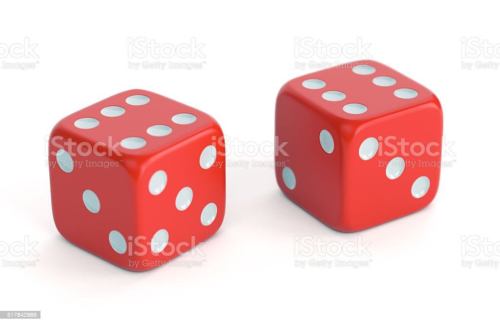 Red dices with number 6 stock photo