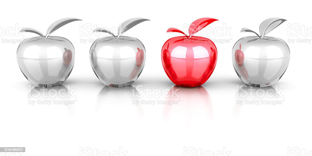 red different apple in white others set group stock photo