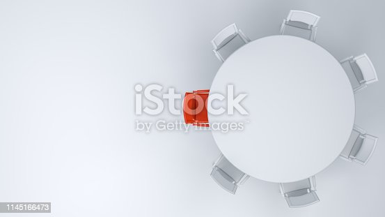 3d rendering meeting table and chairs, Leadership Concept, Minimal Design.