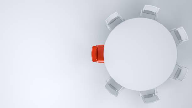czerwone krzesło, koncepcja przywództwa, minimalistyczny design - krzesło zdjęcia i obrazy z banku zdjęć