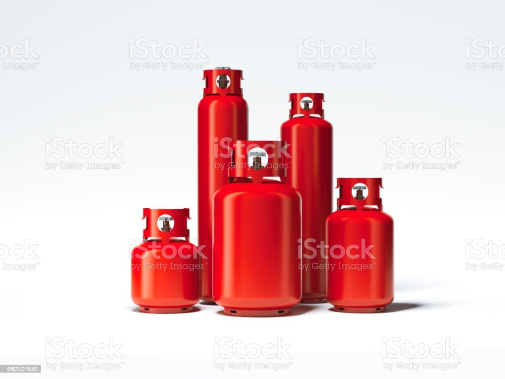 Red different types of gas bottles. 3d rendering stock photo