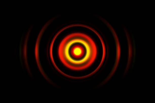 Red digital sound wave or circle signal, abstract background stock photo