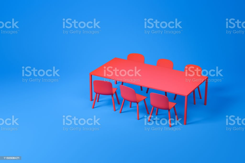 Set of dining room furniture consisting of red long rectangular table...