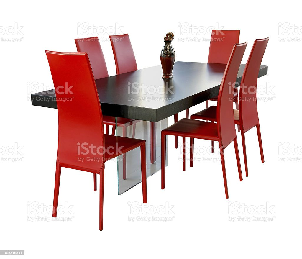 Red dining room royalty-free stock photo