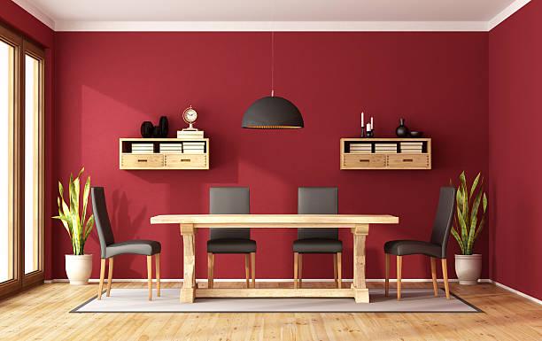 red speiseraum - roten küchentische stock-fotos und bilder