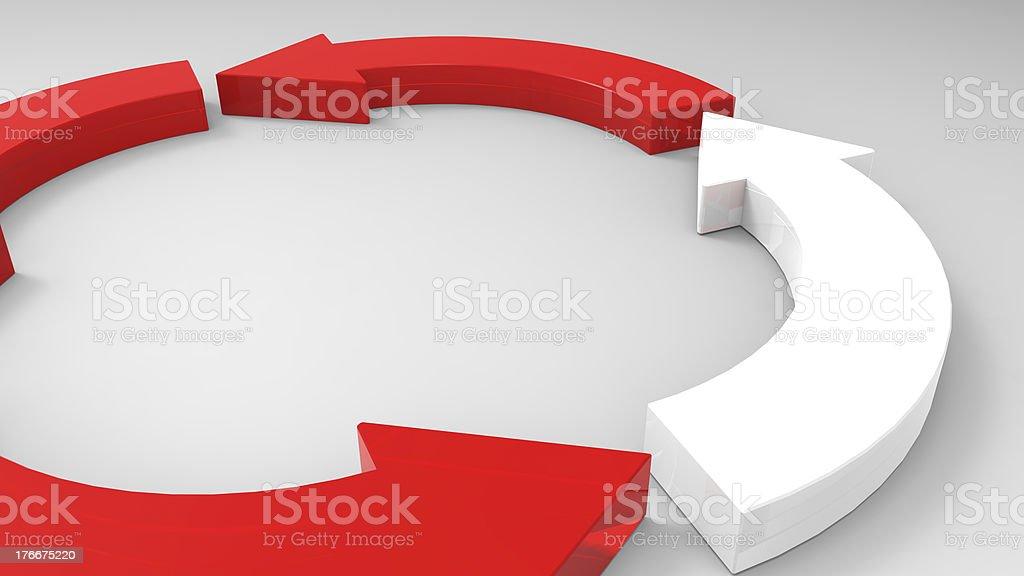 Rojo Flecha de dirección en el fondo blanco foto de stock libre de derechos
