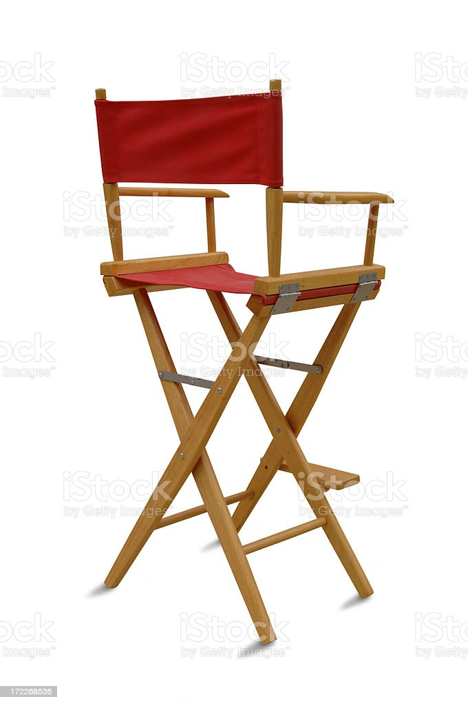Red Director\'s Chair on White with clipping path included.
