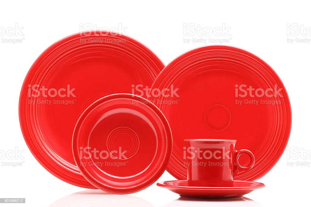 Red Dish Set stock photo