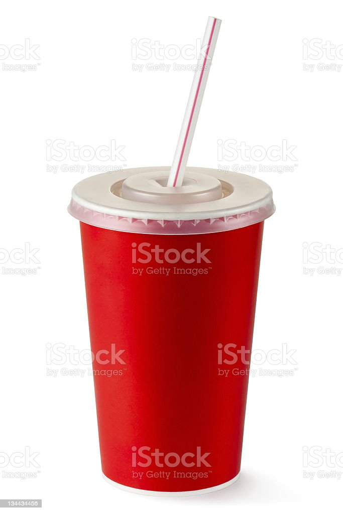 Red disposable cup for beverages with straw stock photo