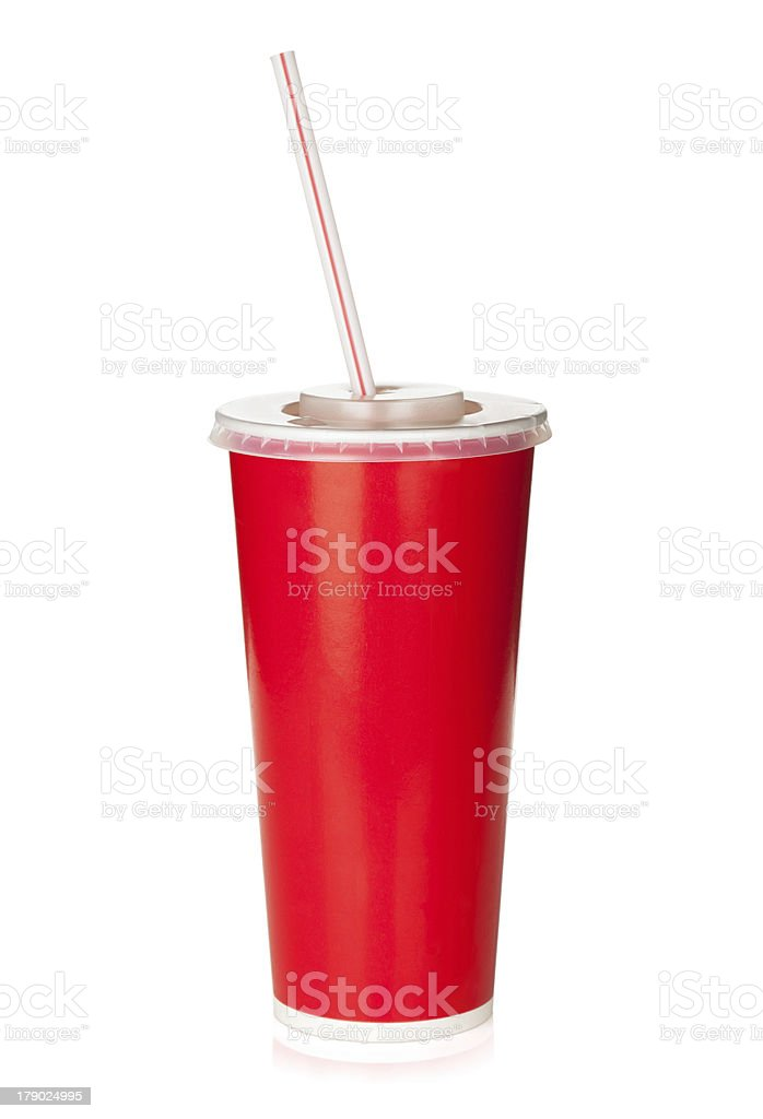Red disposable cup with drinking straw stock photo