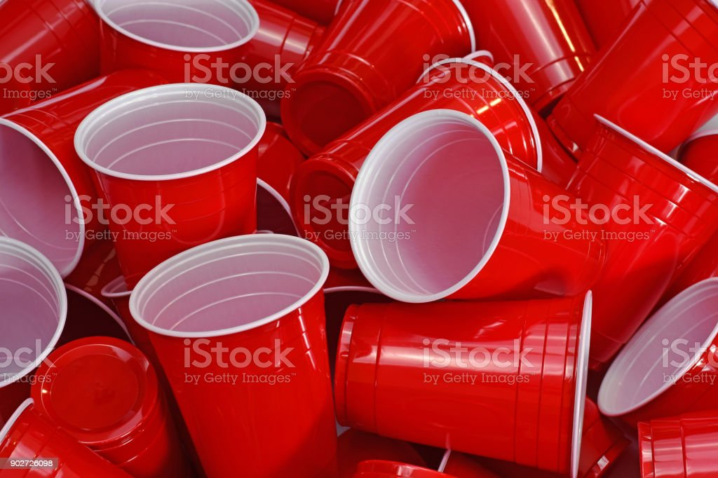 Red disposable Cups stock photo