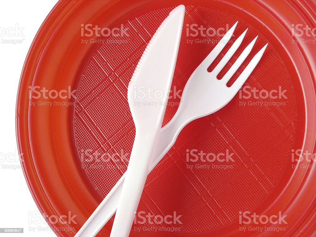 red disposable plate stock photo