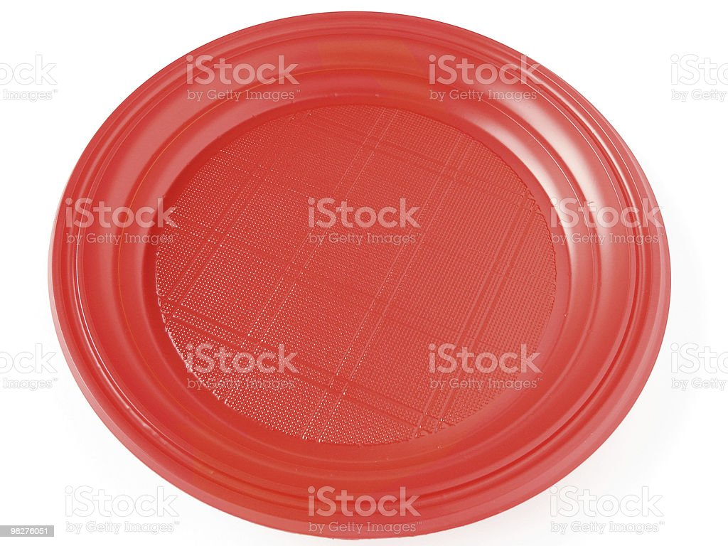red disposable plate royalty-free stock photo