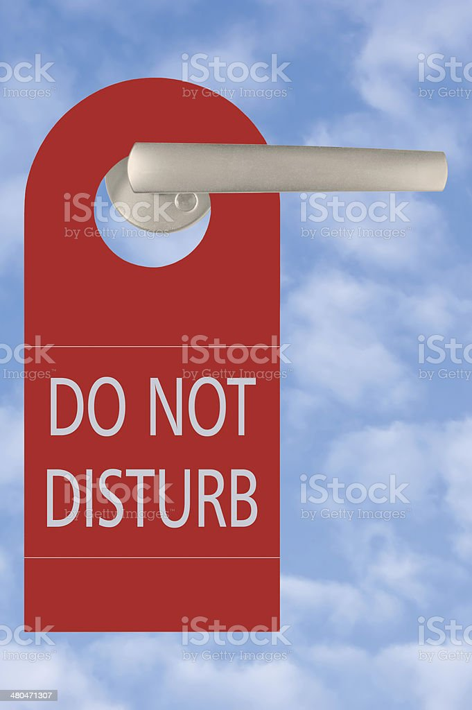 Red Do Not Disturb Door Tag Handle Bright Summer Sky royalty-free stock photo
