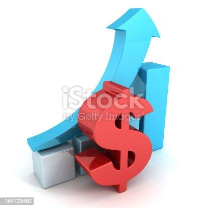 93070459 istock photo red dollar financial success bar chart graph blue arrow 184723487
