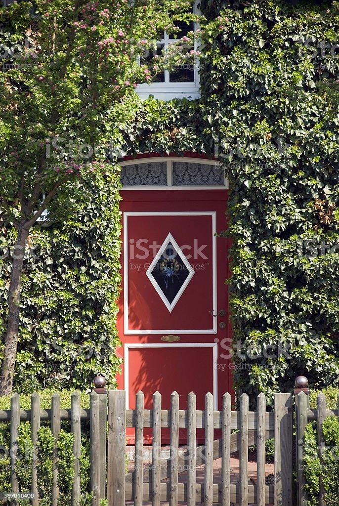Red Door in green ivy royalty-free stock photo