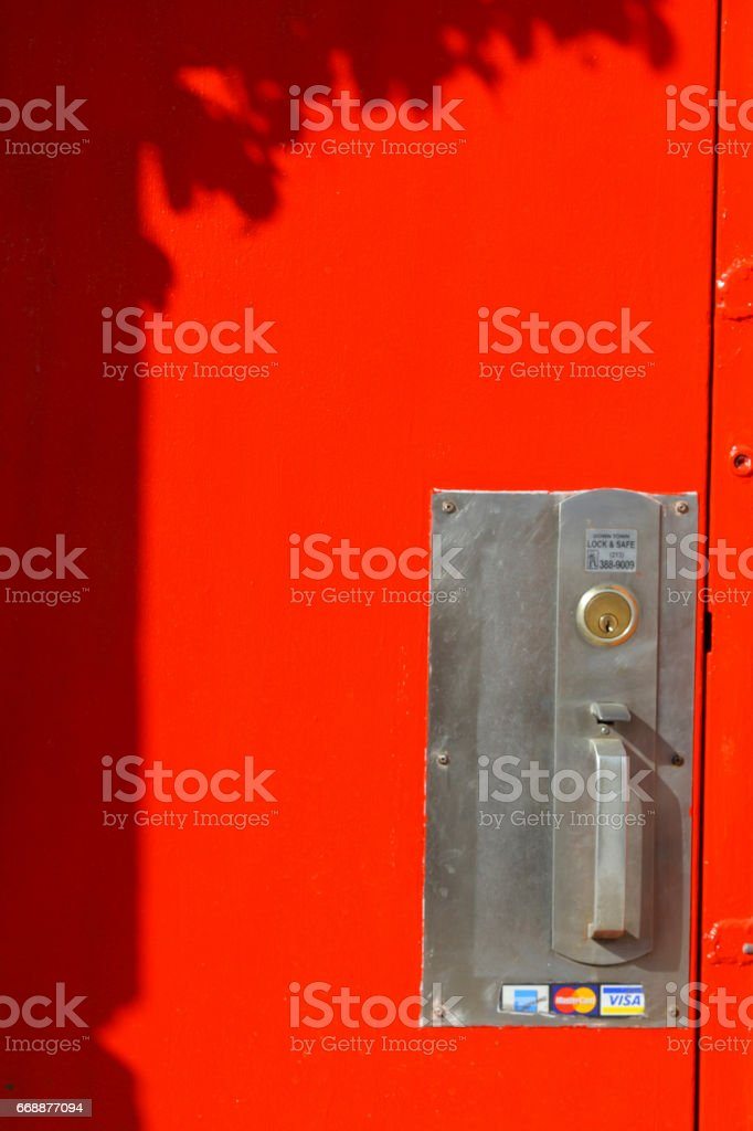 Red door of the shop on Melrose stock photo