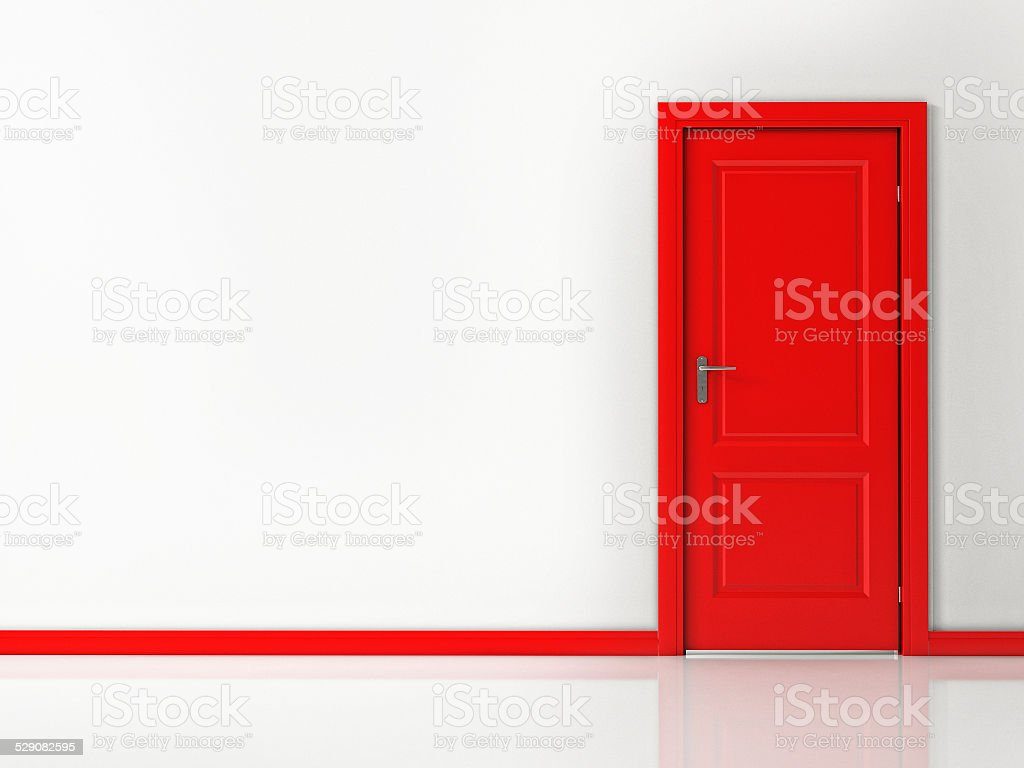 Red Door on White Wall, Reflective Floor stock photo
