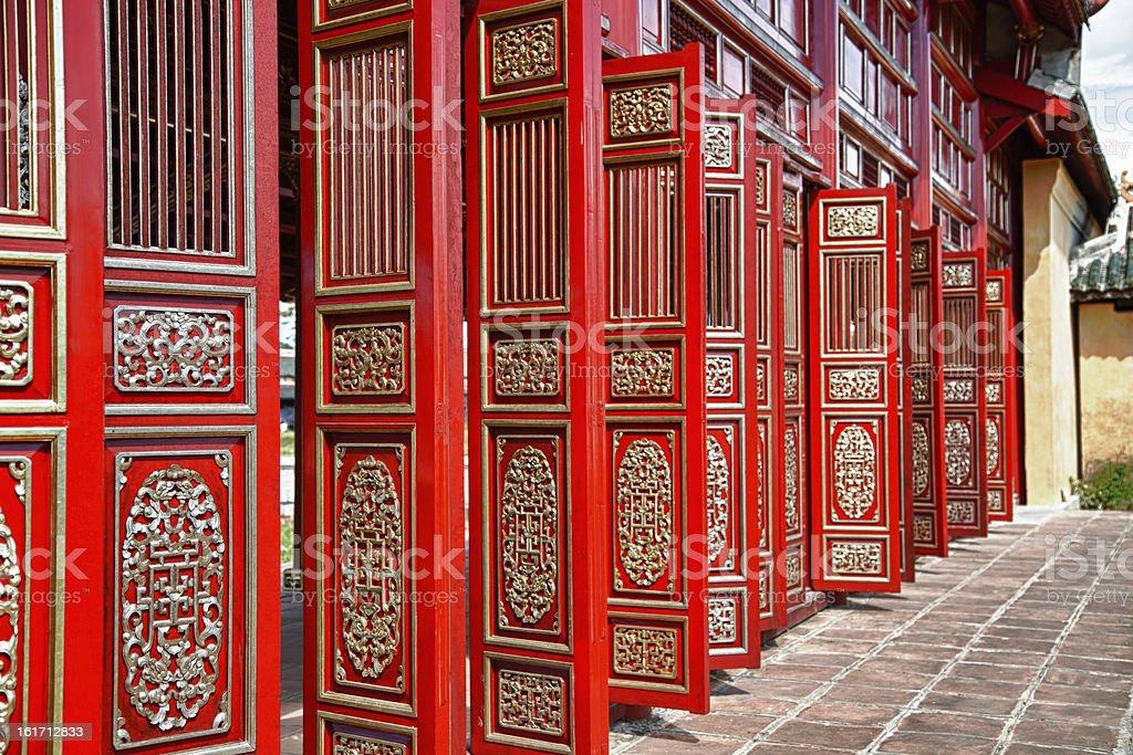 Red doors in Hue's Imperial City (Citadel), Vietnam stock photo