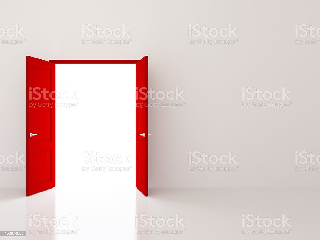 Red doors over white wall royalty-free stock photo