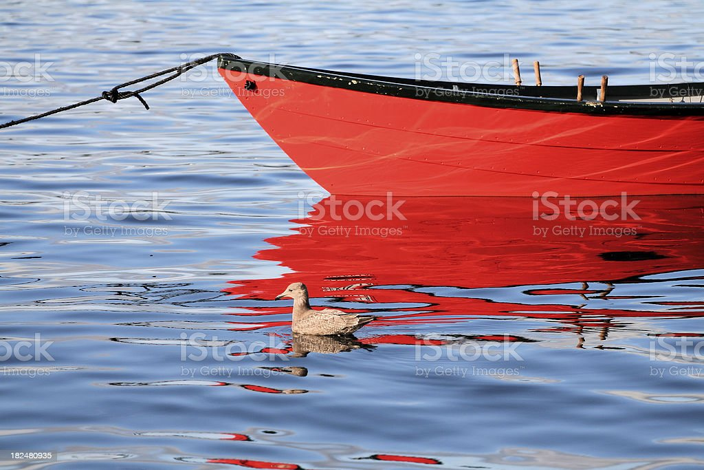 Red Dory Reflections royalty-free stock photo