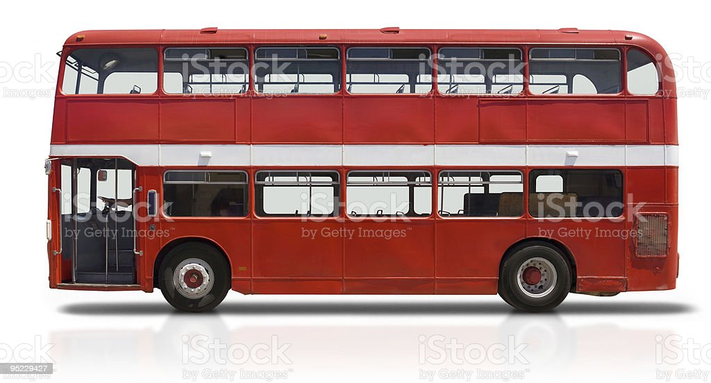 Red Double Decker Bus on White stock photo