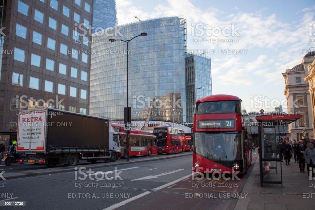 Red double decker bus public transport, high dynamic range