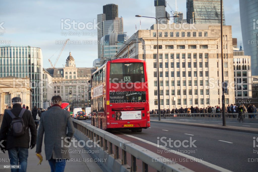 Red double decker bus public transport, high dynamic range stock photo