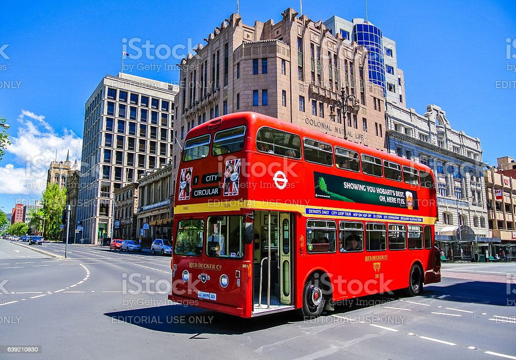Red double decker sightseeing bus in Hobart, Tasmania stock photo