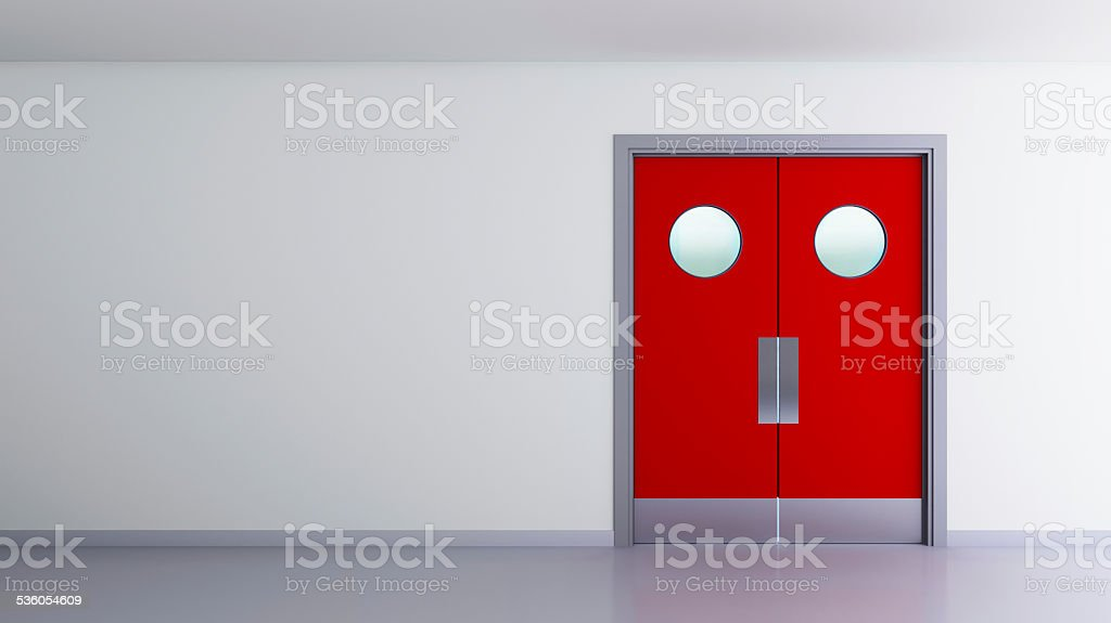 red double door interior space stock photo
