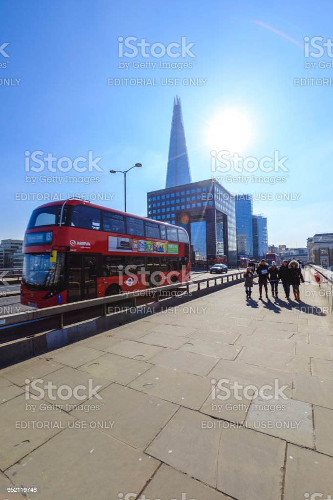 Red double-decker bus in London stock photo