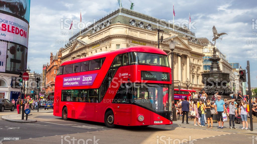 Red double-decker bus Picadilly Circus London stock photo