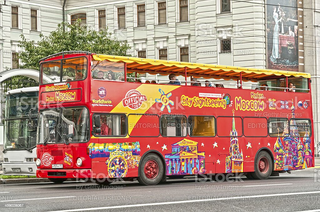 Red double-decker tourist bus in Moscow royalty-free stock photo